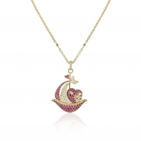 Yellow Gold Ruby and Diamond Sailing Boat Pendant